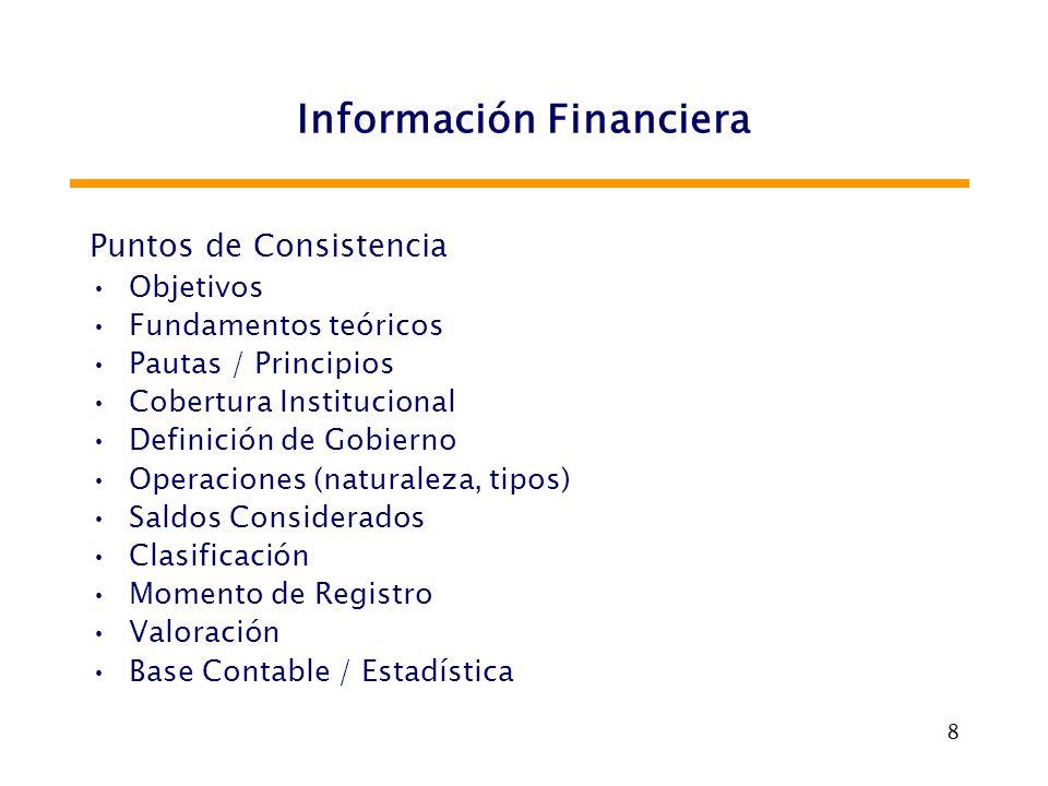 8 Información Financiera Puntos de Consistencia Objetivos Fundamentos teóricos Pautas / Principios Cobertura Institucional Definición de Gobierno Oper