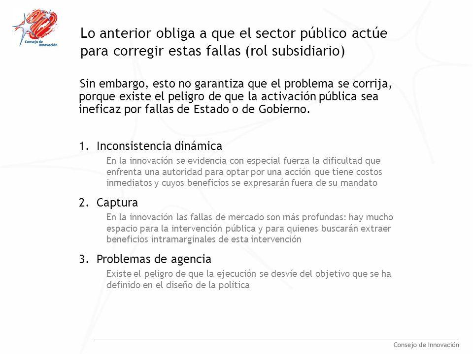 Lo anterior obliga a que el sector público actúe para corregir estas fallas (rol subsidiario) Sin embargo, esto no garantiza que el problema se corrija, porque existe el peligro de que la activación pública sea ineficaz por fallas de Estado o de Gobierno.
