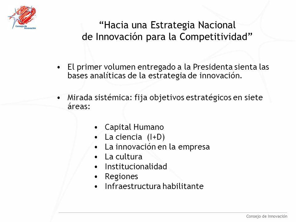 Hacia una Estrategia Nacional de Innovación para la Competitividad Capital Humano La ciencia (I+D) La innovación en la empresa La cultura Institucionalidad Regiones Infraestructura habilitante El primer volumen entregado a la Presidenta sienta las bases analíticas de la estrategia de innovación.