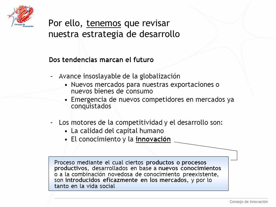 Por ello, tenemos que revisar nuestra estrategia de desarrollo Dos tendencias marcan el futuro –Avance insoslayable de la globalización Nuevos mercados para nuestras exportaciones o nuevos bienes de consumo Emergencia de nuevos competidores en mercados ya conquistados –Los motores de la competitividad y el desarrollo son: La calidad del capital humano El conocimiento y la innovación Proceso mediante el cual ciertos productos o procesos productivos, desarrollados en base a nuevos conocimientos o a la combinación novedosa de conocimiento preexistente, son introducidos eficazmente en los mercados, y por lo tanto en la vida social