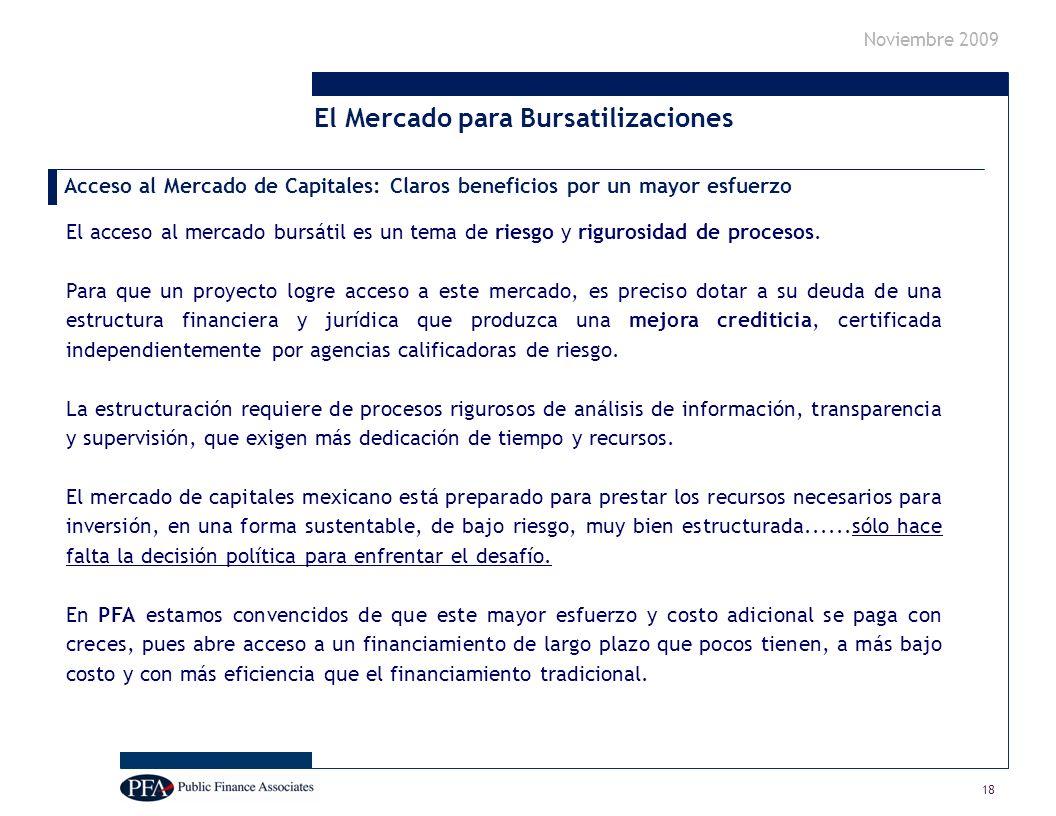 Noviembre 2009 El acceso al mercado bursátil es un tema de riesgo y rigurosidad de procesos.