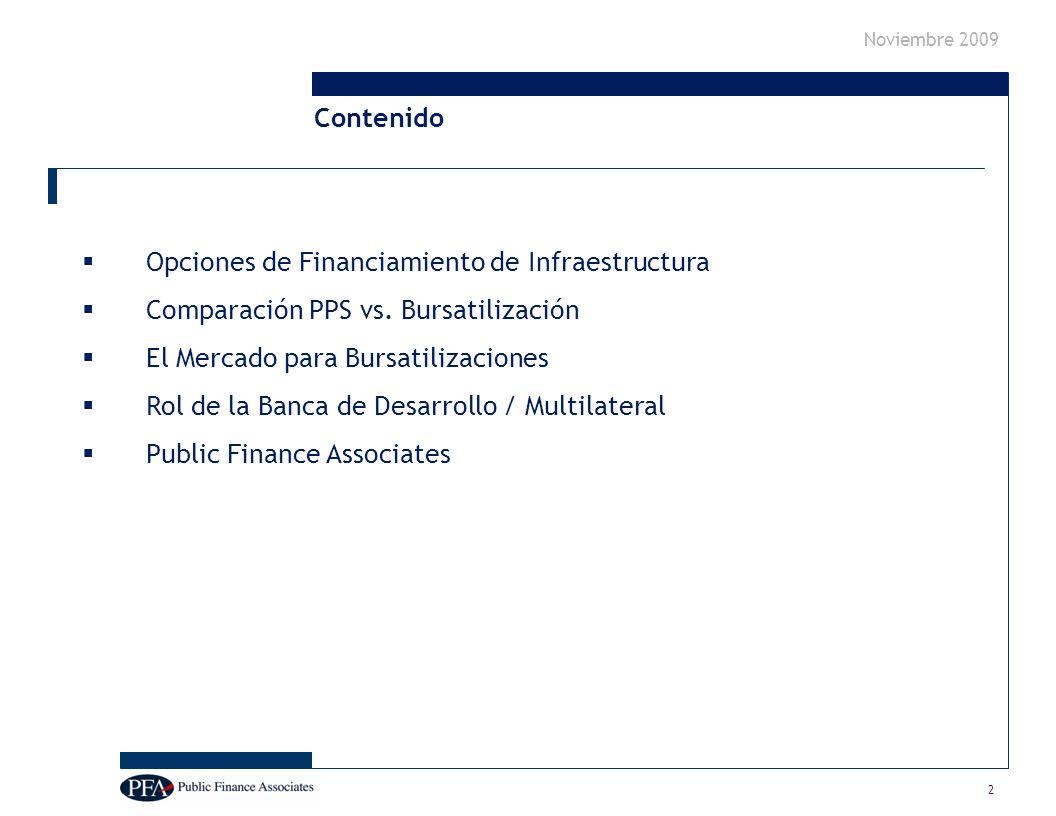 Noviembre 2009 2 Opciones de Financiamiento de Infraestructura Comparación PPS vs.