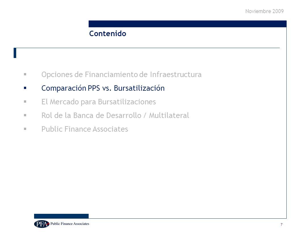 Noviembre 2009 7 Opciones de Financiamiento de Infraestructura Comparación PPS vs.