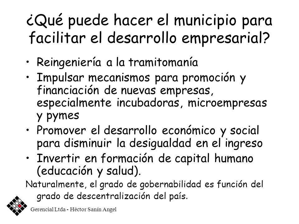 ¿Qué puede hacer el municipio para facilitar el desarrollo empresarial? Reingeniería a la tramitomanía Impulsar mecanismos para promoción y financiaci