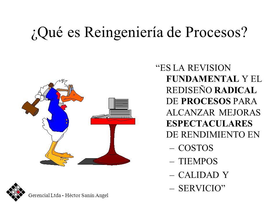 ¿Qué es Reingeniería de Procesos? ES LA REVISION FUNDAMENTAL Y EL REDISEÑO RADICAL DE PROCESOS PARA ALCANZAR MEJORAS ESPECTACULARES DE RENDIMIENTO EN