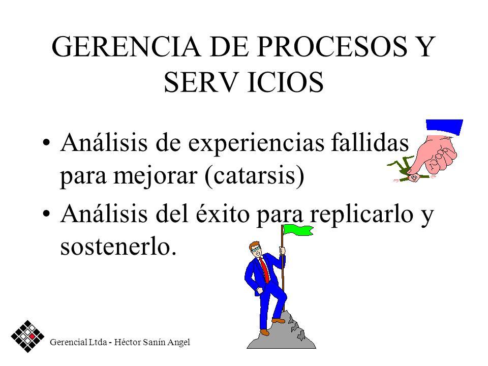 GERENCIA DE PROCESOS Y SERV ICIOS Análisis de experiencias fallidas para mejorar (catarsis) Análisis del éxito para replicarlo y sostenerlo. Gerencial