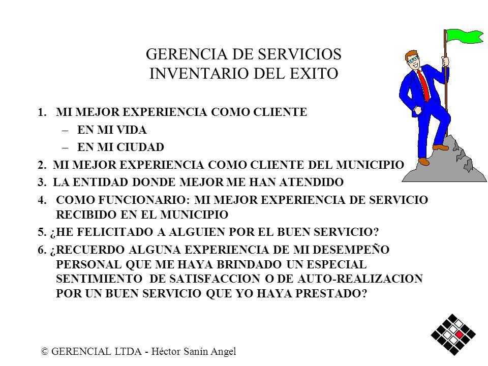 GERENCIA DE SERVICIOS INVENTARIO DEL EXITO 1.MI MEJOR EXPERIENCIA COMO CLIENTE –EN MI VIDA –EN MI CIUDAD 2. MI MEJOR EXPERIENCIA COMO CLIENTE DEL MUNI