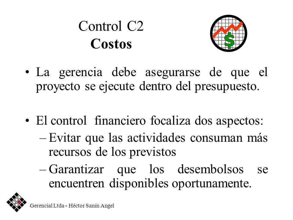 Control C2 Costos La gerencia debe asegurarse de que el proyecto se ejecute dentro del presupuesto. El control financiero focaliza dos aspectos: –Evit