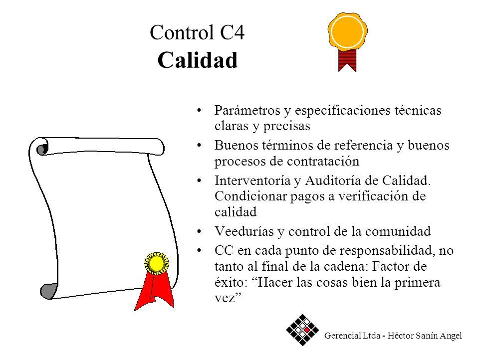 Control C4 Calidad Parámetros y especificaciones técnicas claras y precisas Buenos términos de referencia y buenos procesos de contratación Intervento