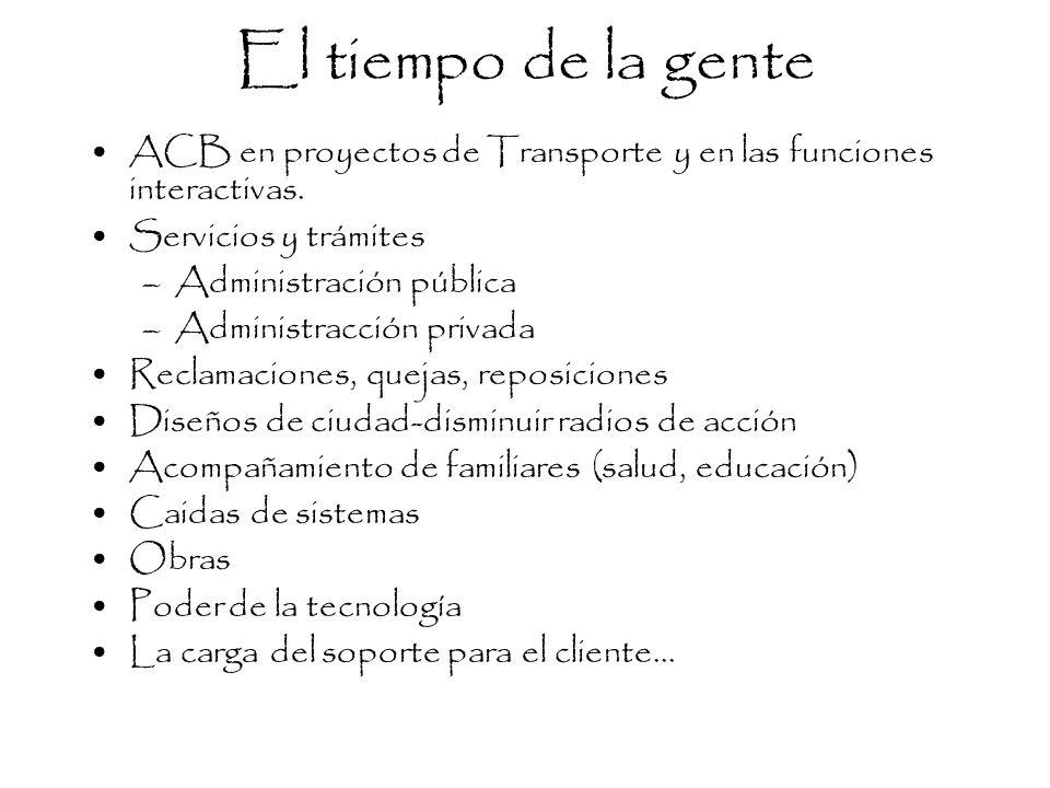 El tiempo de la gente ACB en proyectos de Transporte y en las funciones interactivas. Servicios y trámites –Administración pública –Administracción pr