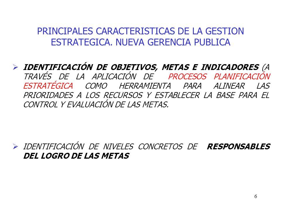 6 PRINCIPALES CARACTERISTICAS DE LA GESTION ESTRATEGICA. NUEVA GERENCIA PUBLICA IDENTIFICACIÓN DE OBJETIVOS, METAS E INDICADORES (A TRAVÉS DE LA APLIC