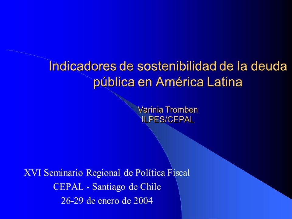 Indicadores de sostenibilidad de la deuda pública en América Latina Varinia Tromben ILPES/CEPAL XVI Seminario Regional de Política Fiscal CEPAL - Sant