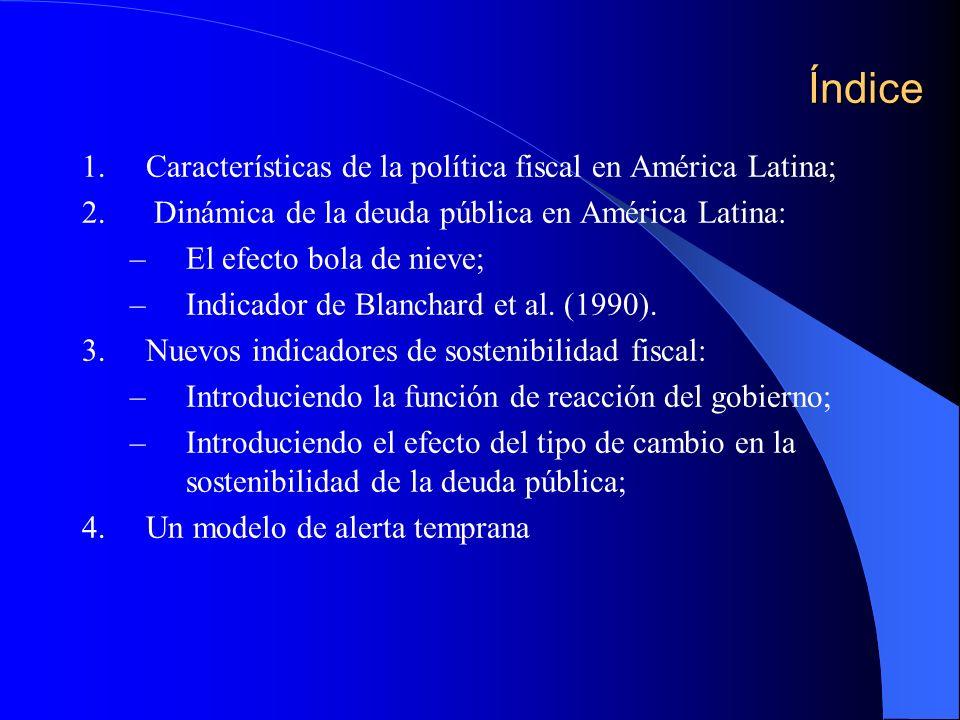 Índice 1.Características de la política fiscal en América Latina; 2. Dinámica de la deuda pública en América Latina: –El efecto bola de nieve; –Indica