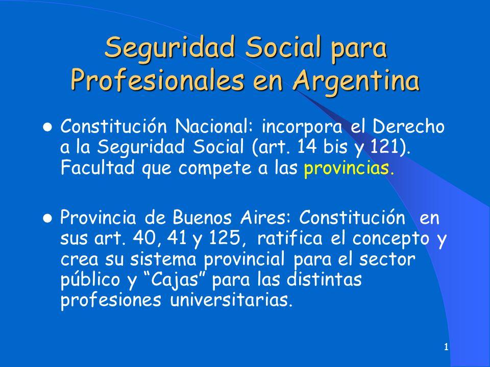 1 Seguridad Social para Profesionales en Argentina l Constitución Nacional: incorpora el Derecho a la Seguridad Social (art.