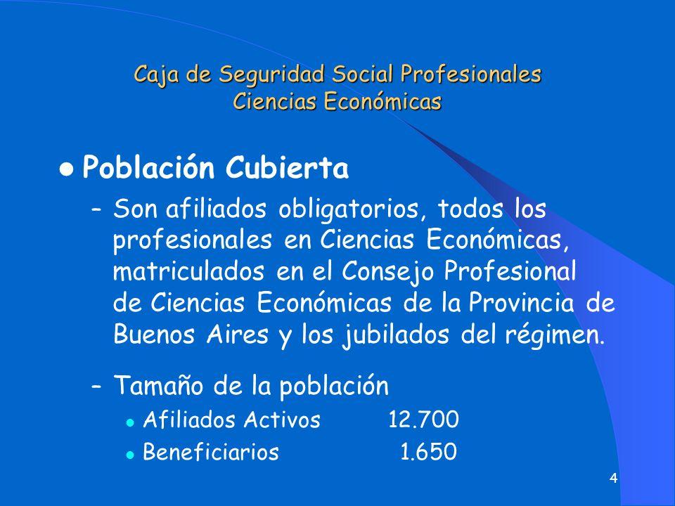 4 l Población Cubierta – Son afiliados obligatorios, todos los profesionales en Ciencias Económicas, matriculados en el Consejo Profesional de Ciencias Económicas de la Provincia de Buenos Aires y los jubilados del régimen.