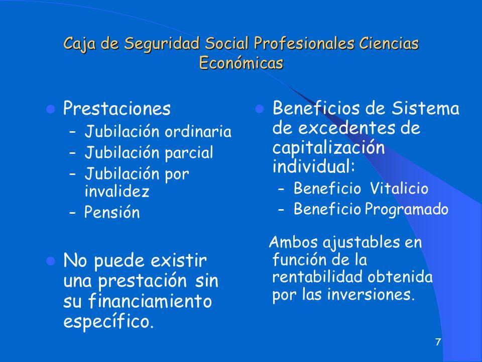 7 Caja de Seguridad Social Profesionales Ciencias Económicas Prestaciones – Jubilación ordinaria – Jubilación parcial – Jubilación por invalidez – Pensión No puede existir una prestación sin su financiamiento específico.