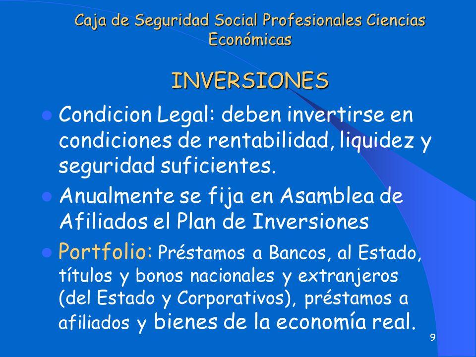 9 Caja de Seguridad Social Profesionales Ciencias Económicas INVERSIONES Condicion Legal: deben invertirse en condiciones de rentabilidad, liquidez y seguridad suficientes.