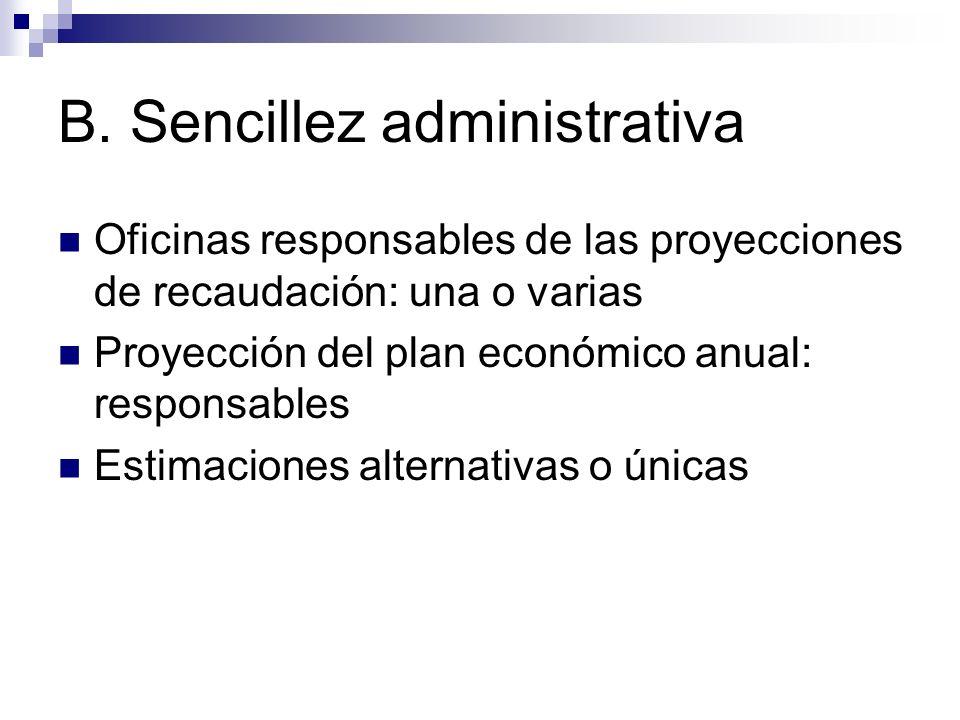 B. Sencillez administrativa Oficinas responsables de las proyecciones de recaudación: una o varias Proyección del plan económico anual: responsables E