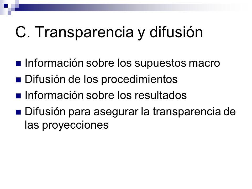 C. Transparencia y difusión Información sobre los supuestos macro Difusión de los procedimientos Información sobre los resultados Difusión para asegur