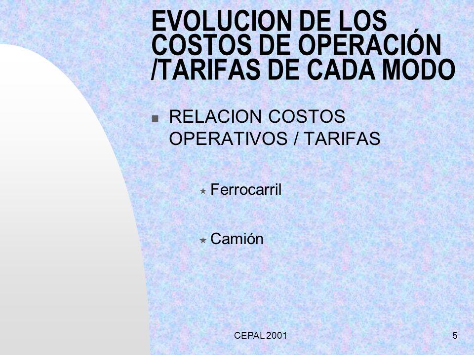 CEPAL 20016 MEDIDAS PROPUESTAS PARA AUMENTAR LA COMPLEMENTACION ACOMPAÑAR EL DESARROLLO ARMONICO DE LOS MODOS CENTROS DE CARGA –ACCESOS A PUERTO POLITICA DE ORIENTACION DE INVERSIONES.