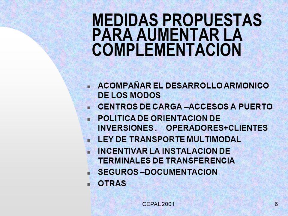 CEPAL 20016 MEDIDAS PROPUESTAS PARA AUMENTAR LA COMPLEMENTACION ACOMPAÑAR EL DESARROLLO ARMONICO DE LOS MODOS CENTROS DE CARGA –ACCESOS A PUERTO POLIT