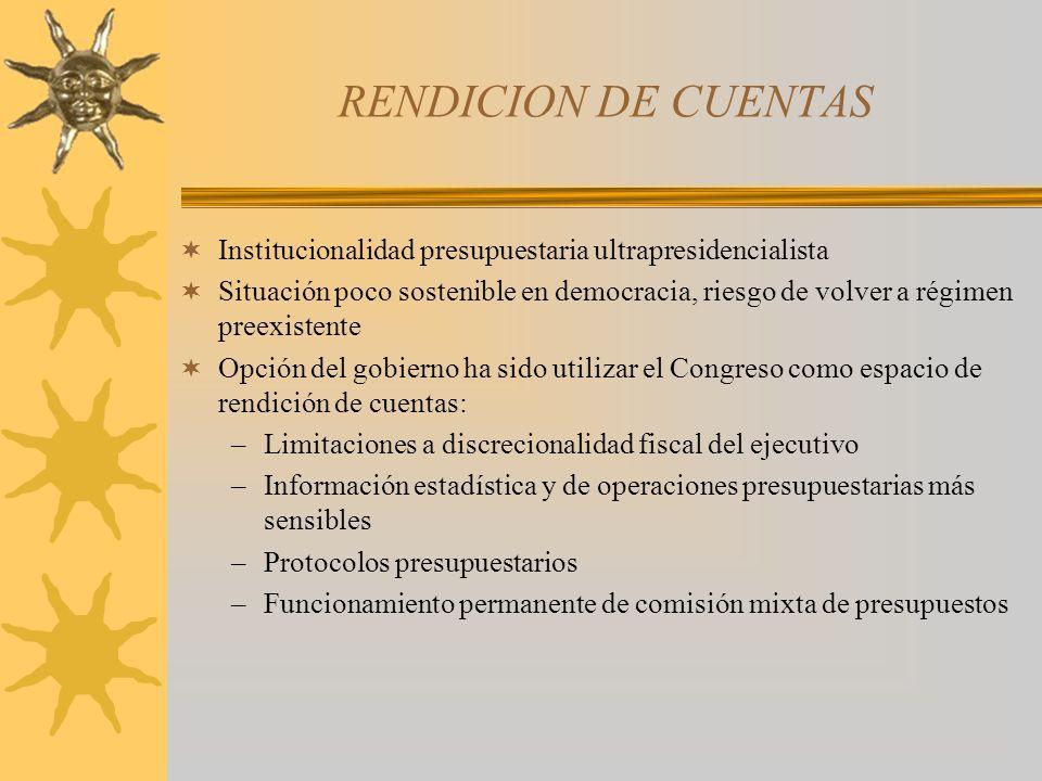 RENDICION DE CUENTAS Institucionalidad presupuestaria ultrapresidencialista Situación poco sostenible en democracia, riesgo de volver a régimen preexi