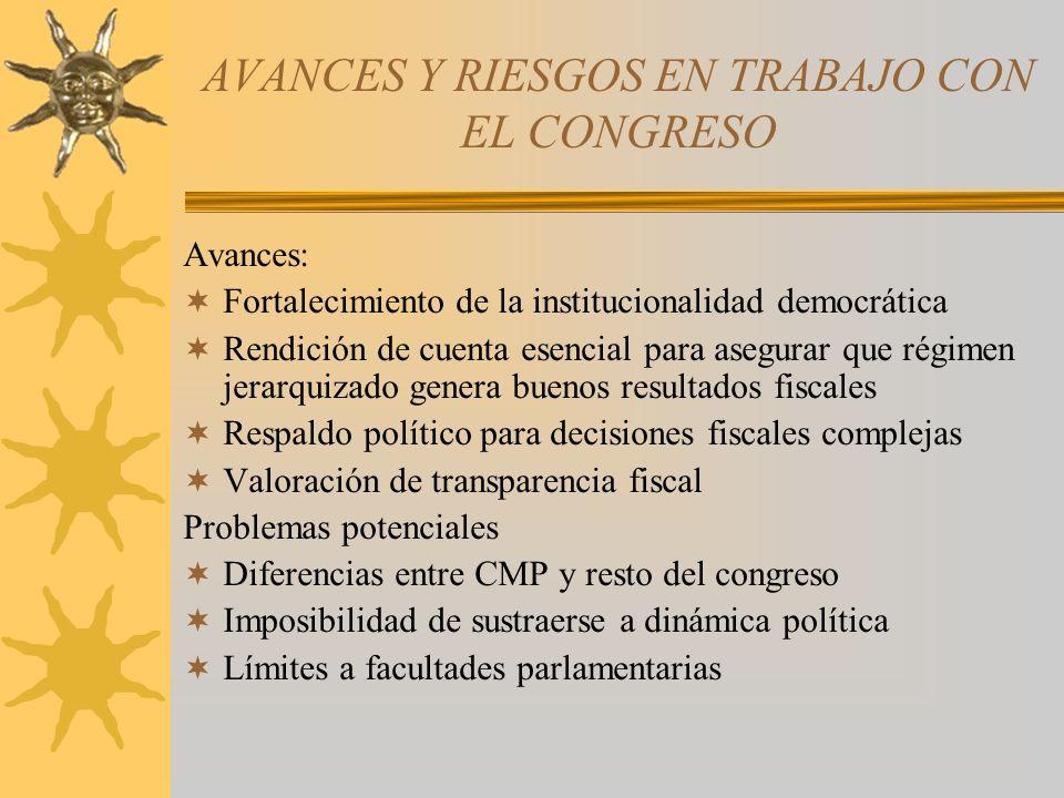 AVANCES Y RIESGOS EN TRABAJO CON EL CONGRESO Avances: Fortalecimiento de la institucionalidad democrática Rendición de cuenta esencial para asegurar q