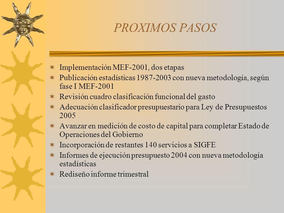 PROXIMOS PASOS Implementación MEF-2001, dos etapas Publicación estadísticas 1987-2003 con nueva metodología, según fase I MEF-2001 Revisión cuadro cla