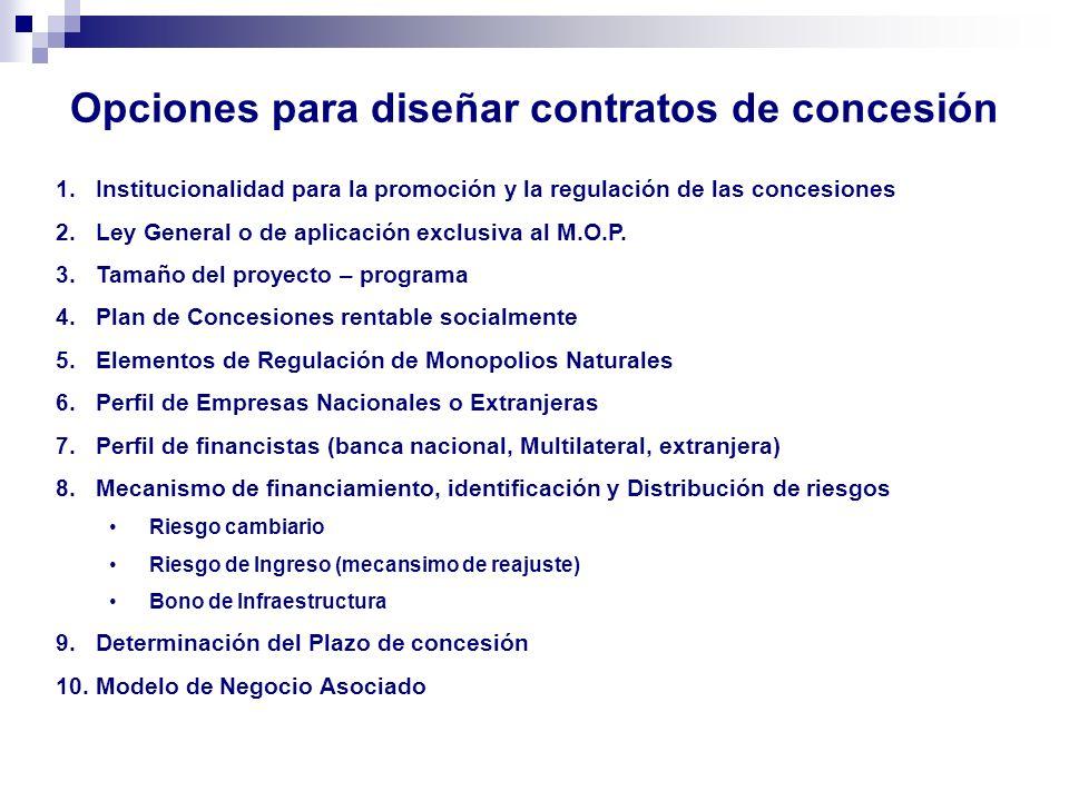 Opciones para diseñar contratos de concesión 1.Institucionalidad para la promoción y la regulación de las concesiones 2.Ley General o de aplicación ex