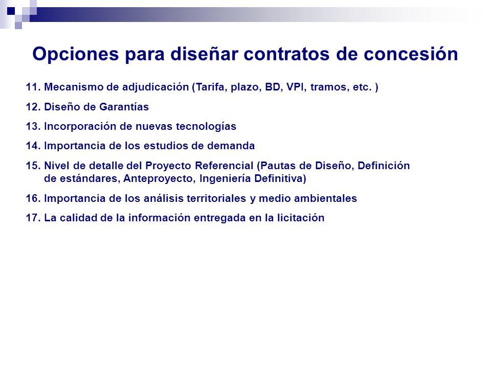 Opciones para diseñar contratos de concesión 11.Mecanismo de adjudicación (Tarifa, plazo, BD, VPI, tramos, etc. ) 12.Diseño de Garantías 13.Incorporac