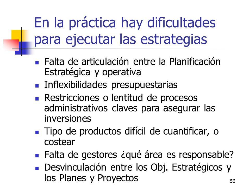55 Planificación Estratégica como insumo para un Presupuesto orientado a Resultados: factores críticos Capacidad de retroalimentar a los niveles direc