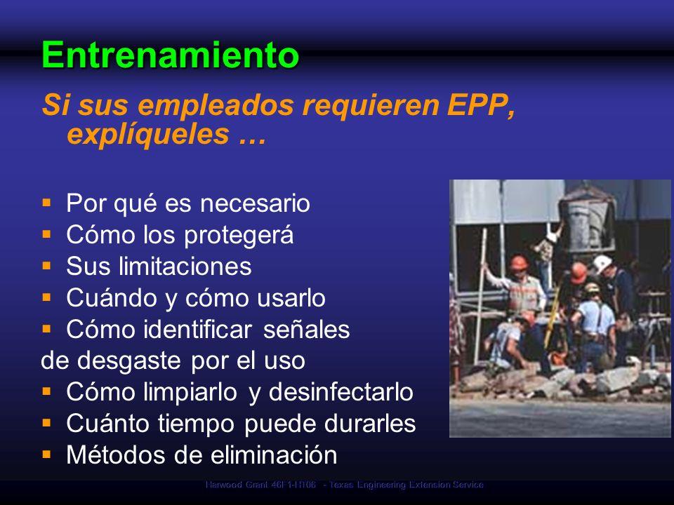 Harwood Grant 46F1-HT06 - Texas Engineering Extension Service Entrenamiento Si sus empleados requieren EPP, explíqueles … Por qué es necesario Cómo lo