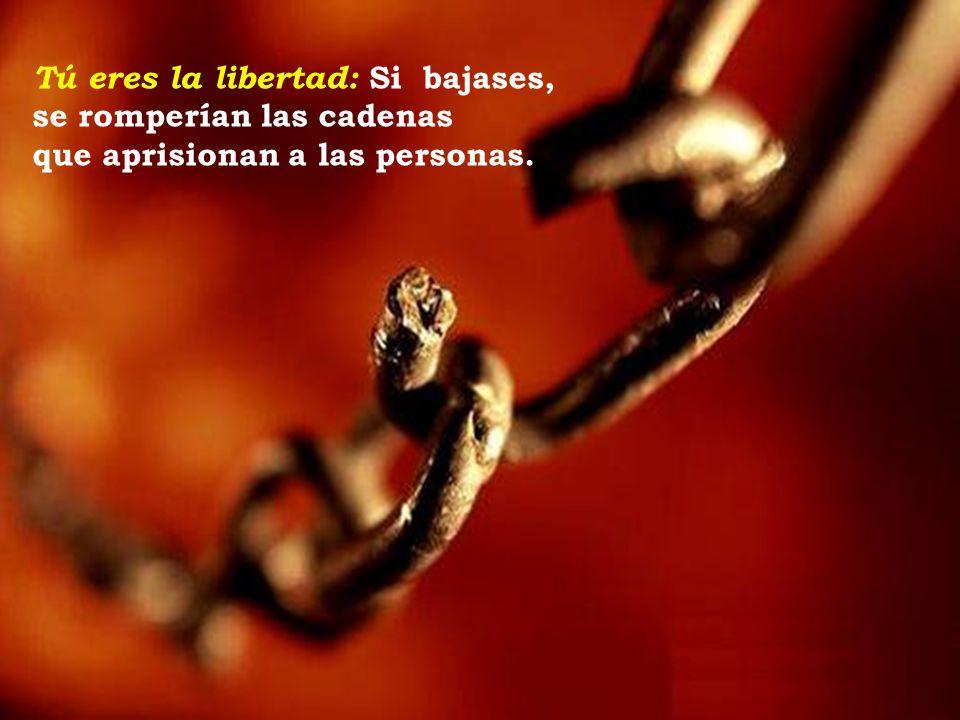 Tú eres la libertad: Si bajases, se romperían las cadenas que aprisionan a las personas.