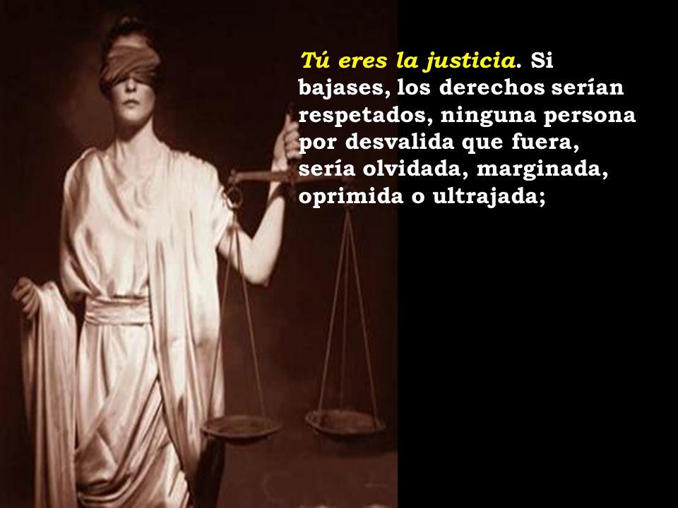 Tú eres la justicia. Si bajases, los derechos serían respetados, ninguna persona por desvalida que fuera, sería olvidada, marginada, oprimida o ultraj