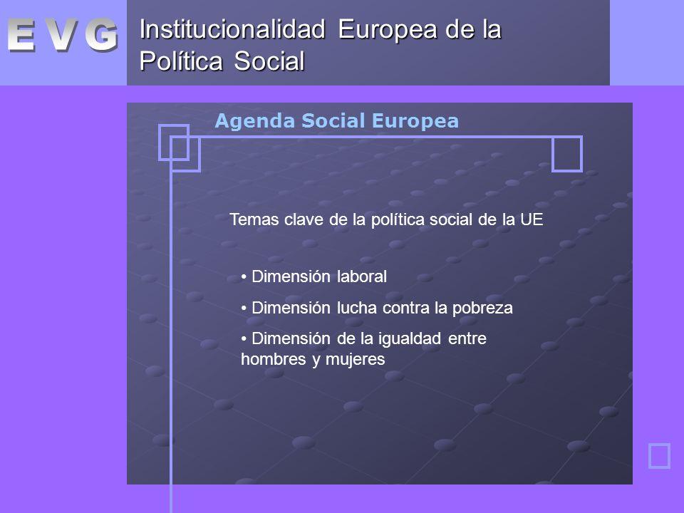 Institucionalidad Europea de la Política Social Agenda Social Europea Temas clave de la política social de la UE Dimensión laboral Dimensión lucha contra la pobreza Dimensión de la igualdad entre hombres y mujeres
