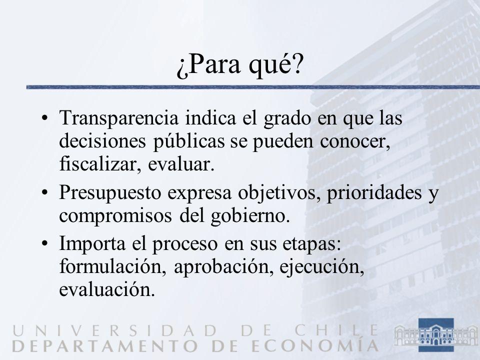 ¿Para qué? Transparencia indica el grado en que las decisiones públicas se pueden conocer, fiscalizar, evaluar. Presupuesto expresa objetivos, priorid