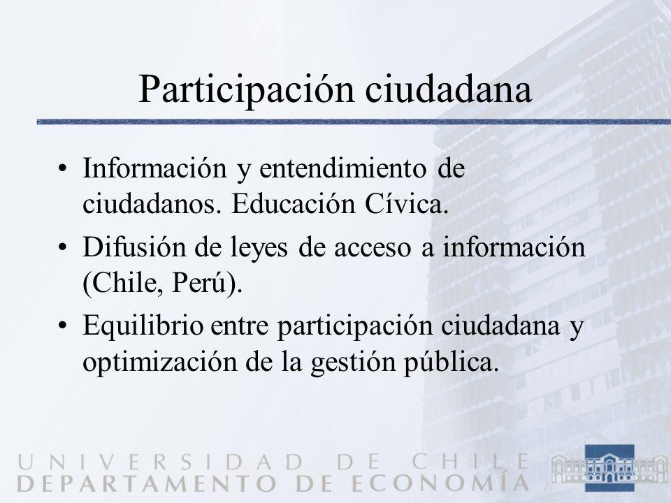 Participación ciudadana Información y entendimiento de ciudadanos. Educación Cívica. Difusión de leyes de acceso a información (Chile, Perú). Equilibr