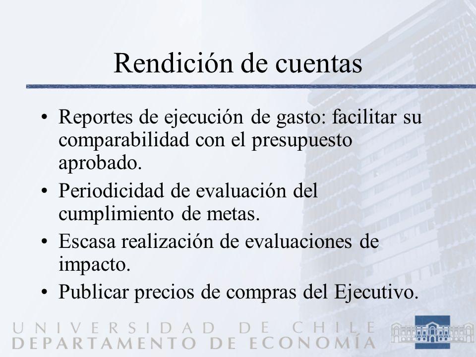 Rendición de cuentas Reportes de ejecución de gasto: facilitar su comparabilidad con el presupuesto aprobado. Periodicidad de evaluación del cumplimie