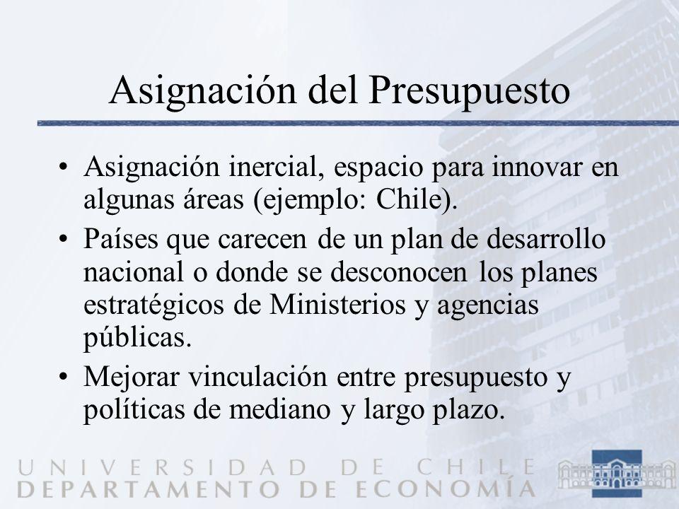 Asignación del Presupuesto Asignación inercial, espacio para innovar en algunas áreas (ejemplo: Chile). Países que carecen de un plan de desarrollo na