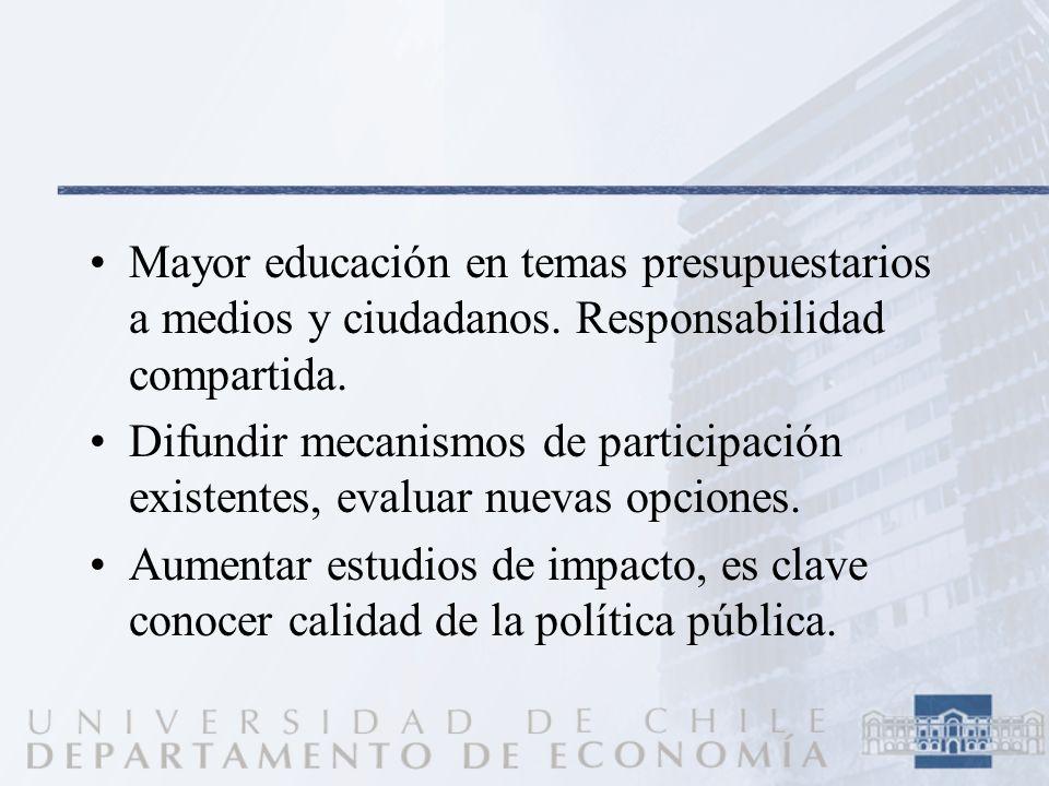 Mayor educación en temas presupuestarios a medios y ciudadanos. Responsabilidad compartida. Difundir mecanismos de participación existentes, evaluar n