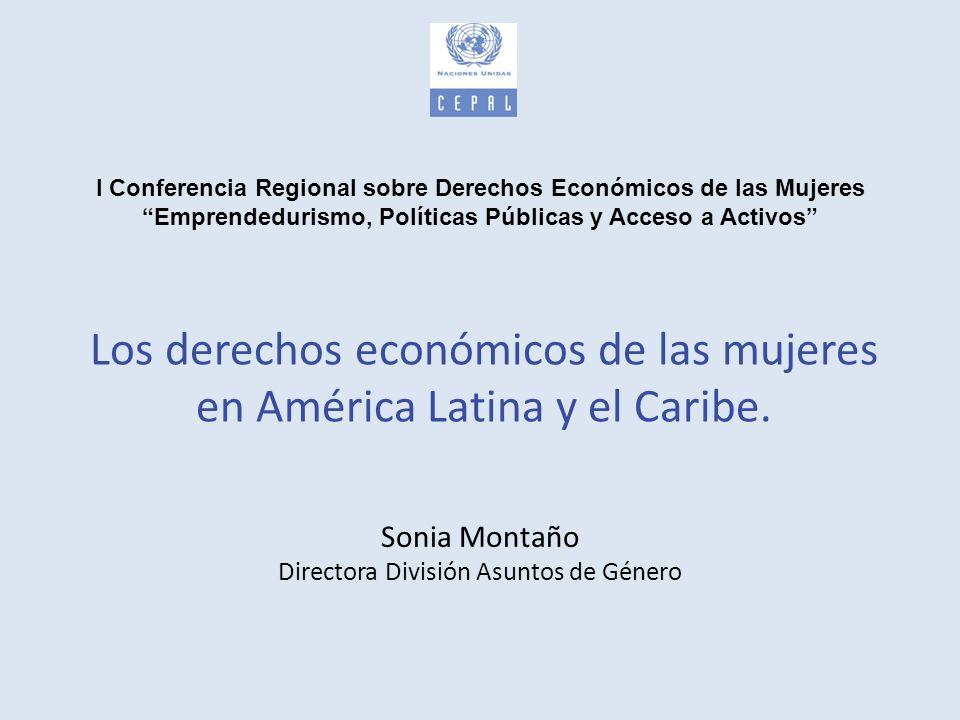 Los derechos económicos de las mujeres en América Latina y el Caribe Esta presentación analiza: El contexto económico internacional Avances y retrocesos en la agenda internacional de género Brechas de género persistentes Desafíos para las políticas