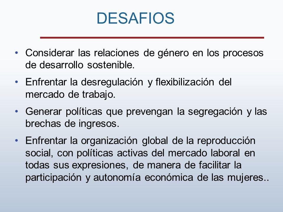 Considerar las relaciones de género en los procesos de desarrollo sostenible. Enfrentar la desregulación y flexibilización del mercado de trabajo. Gen