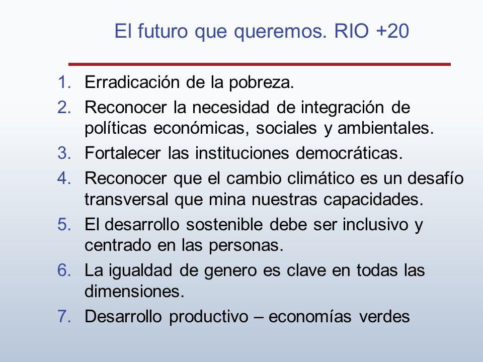 El futuro que queremos. RIO +20 1.Erradicación de la pobreza. 2.Reconocer la necesidad de integración de políticas económicas, sociales y ambientales.