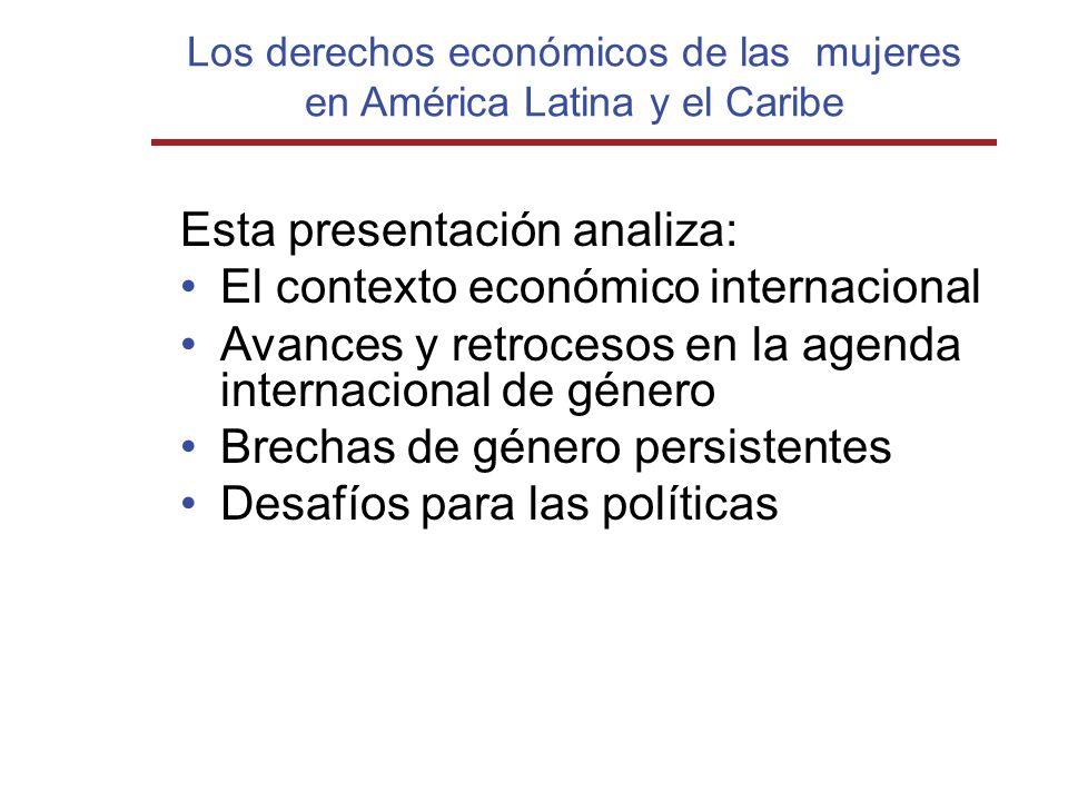 Los derechos económicos de las mujeres en América Latina y el Caribe Esta presentación analiza: El contexto económico internacional Avances y retroces
