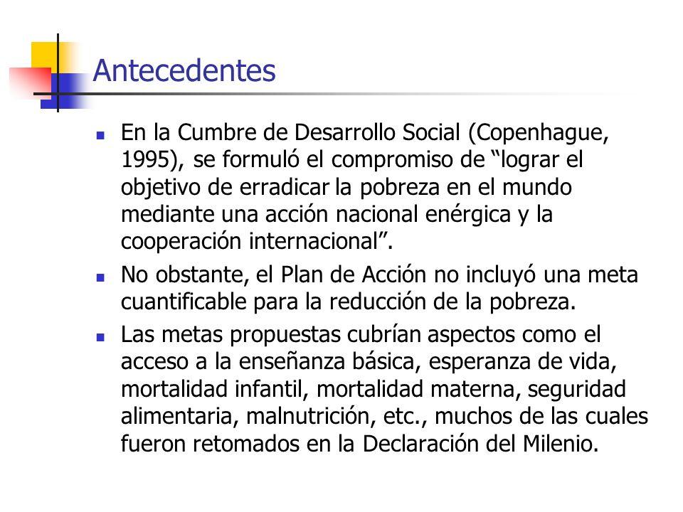 Antecedentes En la Cumbre de Desarrollo Social (Copenhague, 1995), se formuló el compromiso de lograr el objetivo de erradicar la pobreza en el mundo