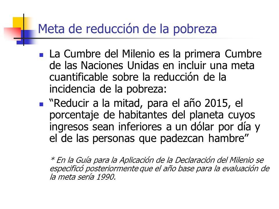 Meta de reducción de la pobreza La Cumbre del Milenio es la primera Cumbre de las Naciones Unidas en incluir una meta cuantificable sobre la reducción