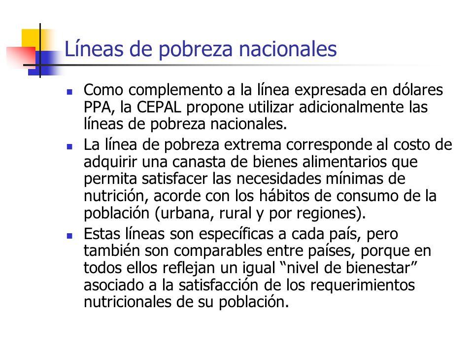 Líneas de pobreza nacionales Como complemento a la línea expresada en dólares PPA, la CEPAL propone utilizar adicionalmente las líneas de pobreza naci