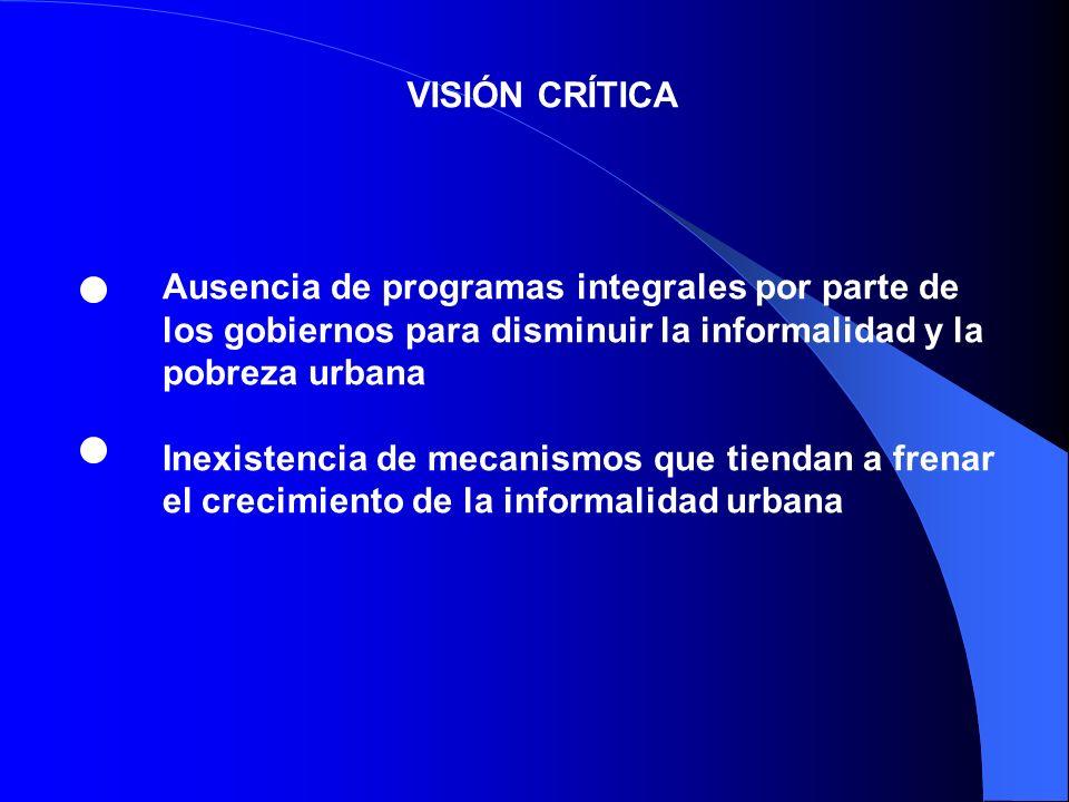 VISIÓN CRÍTICA Ausencia de programas integrales por parte de los gobiernos para disminuir la informalidad y la pobreza urbana Inexistencia de mecanism