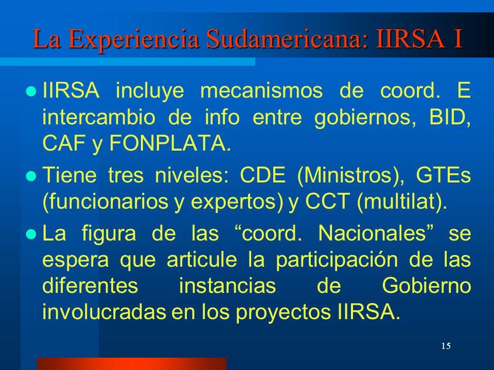 15 La Experiencia Sudamericana: IIRSA I IIRSA incluye mecanismos de coord.