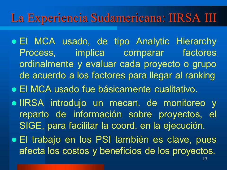 18 La Experiencia Sudamericana: IIRSA IV El rol de coord.